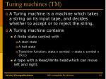 turing machines tm