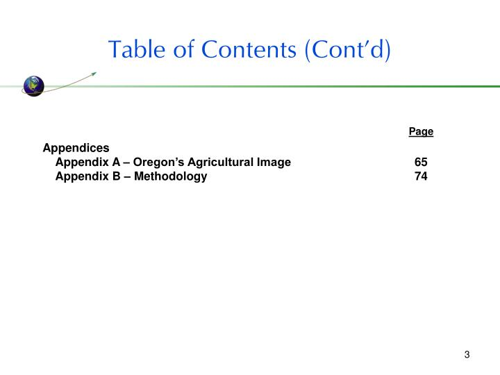 Table of contents cont d