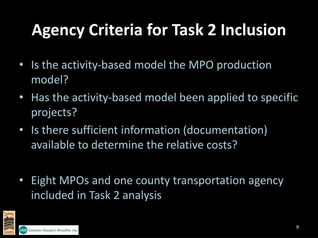 Agency Criteria for Task 2 Inclusion