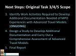 next steps original task 3 4 5 scope