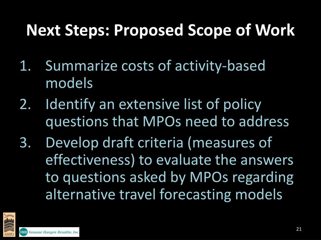 Next Steps: Proposed Scope of Work