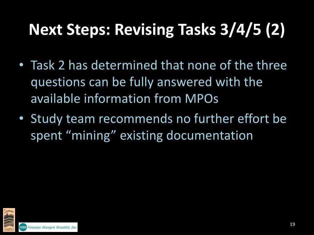 Next Steps: Revising Tasks 3/4/5 (2)