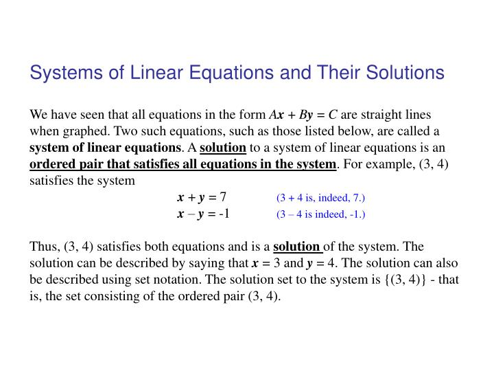 systems of linear equations and their solutions n.