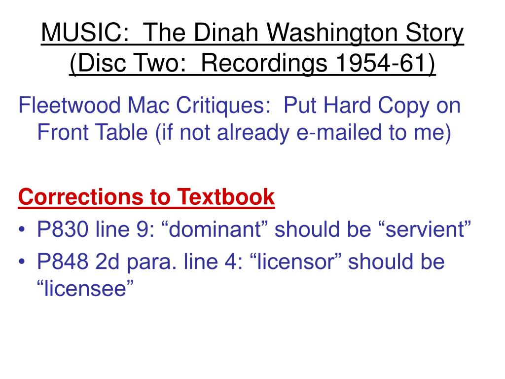 MUSIC:  The Dinah Washington Story (Disc Two:  Recordings 1954-61)