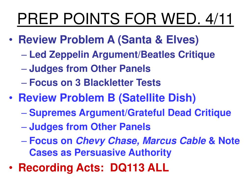 PREP POINTS FOR WED. 4/11