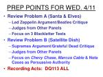 prep points for wed 4 11