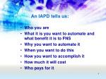 an iapd tells us