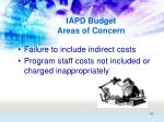 iapd budget areas of concern48