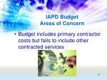 iapd budget areas of concern50