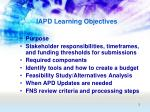 iapd learning objectives