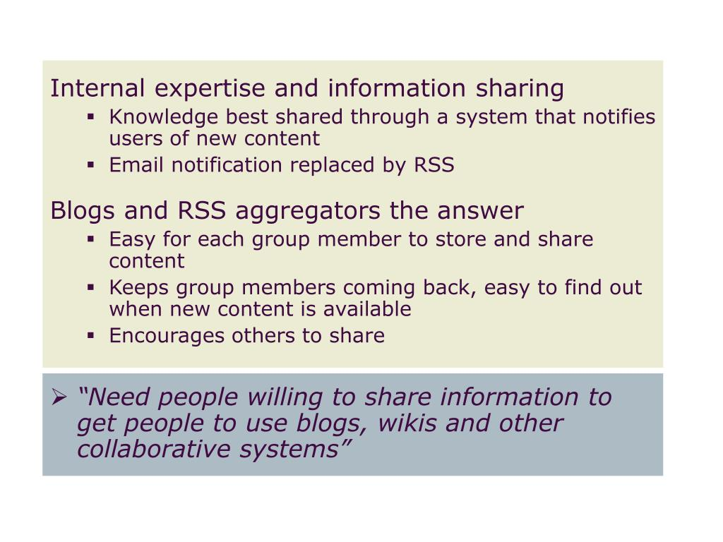 Internal expertise and information sharing