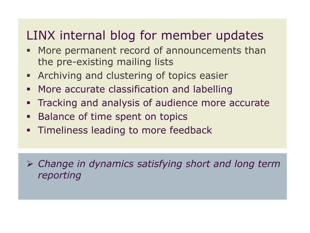 LINX internal blog for member updates