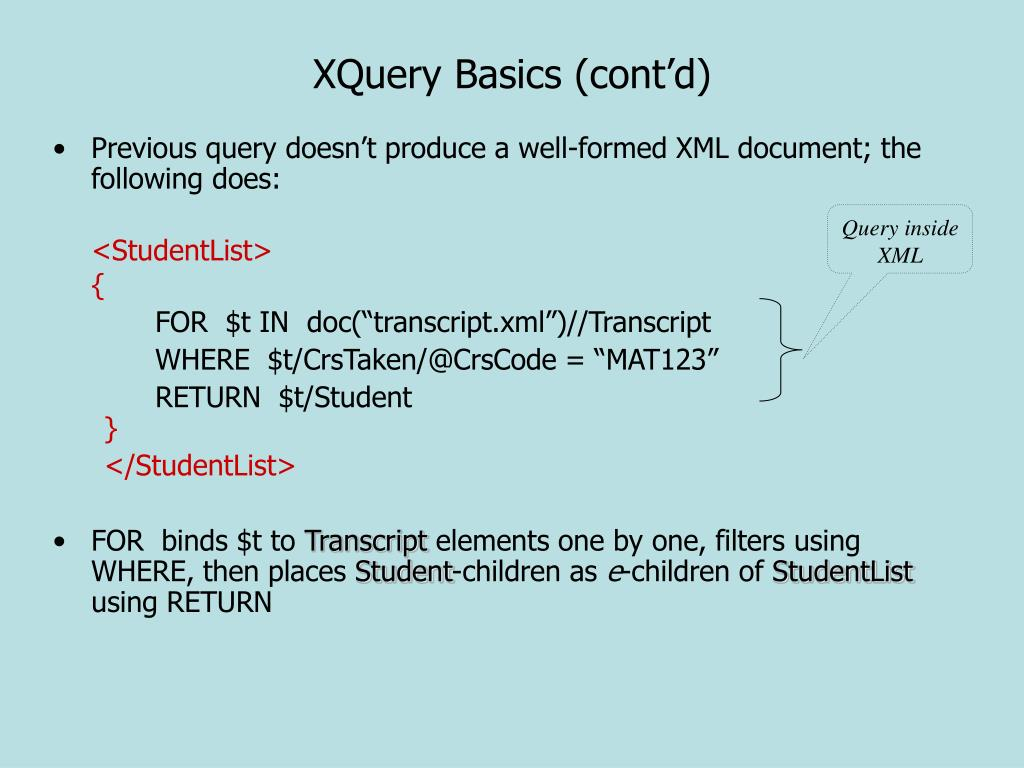 XQuery Basics (cont'd)