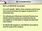 bc considerations