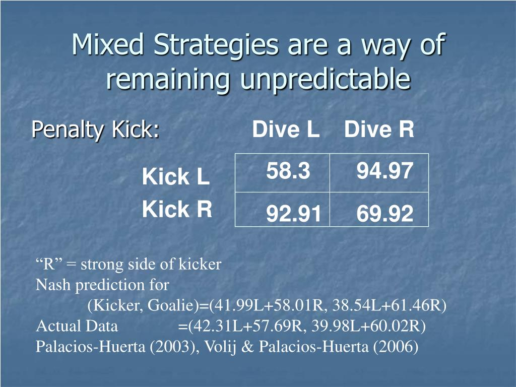 Mixed Strategies are a way of remaining unpredictable