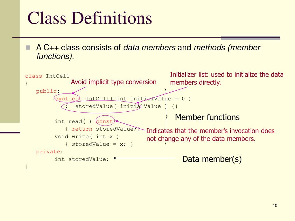 Class Definitions