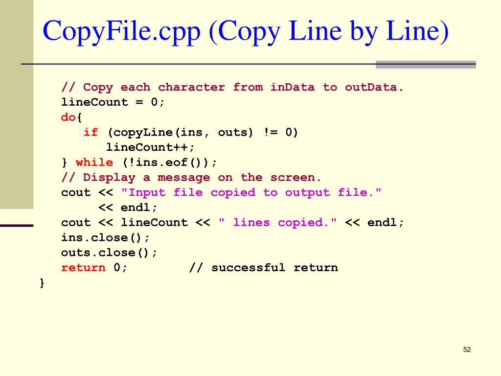 CopyFile.cpp (Copy Line by Line)