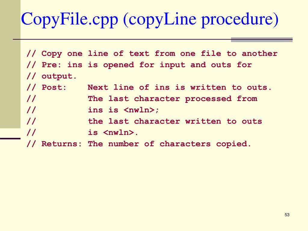 CopyFile.cpp (copyLine procedure)