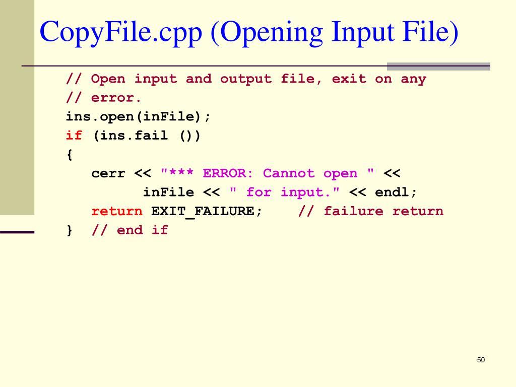 CopyFile.cpp (Opening Input File)