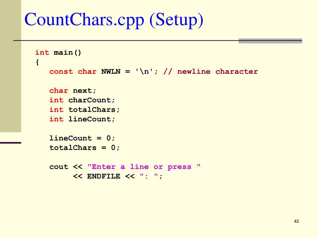 CountChars.cpp (Setup)