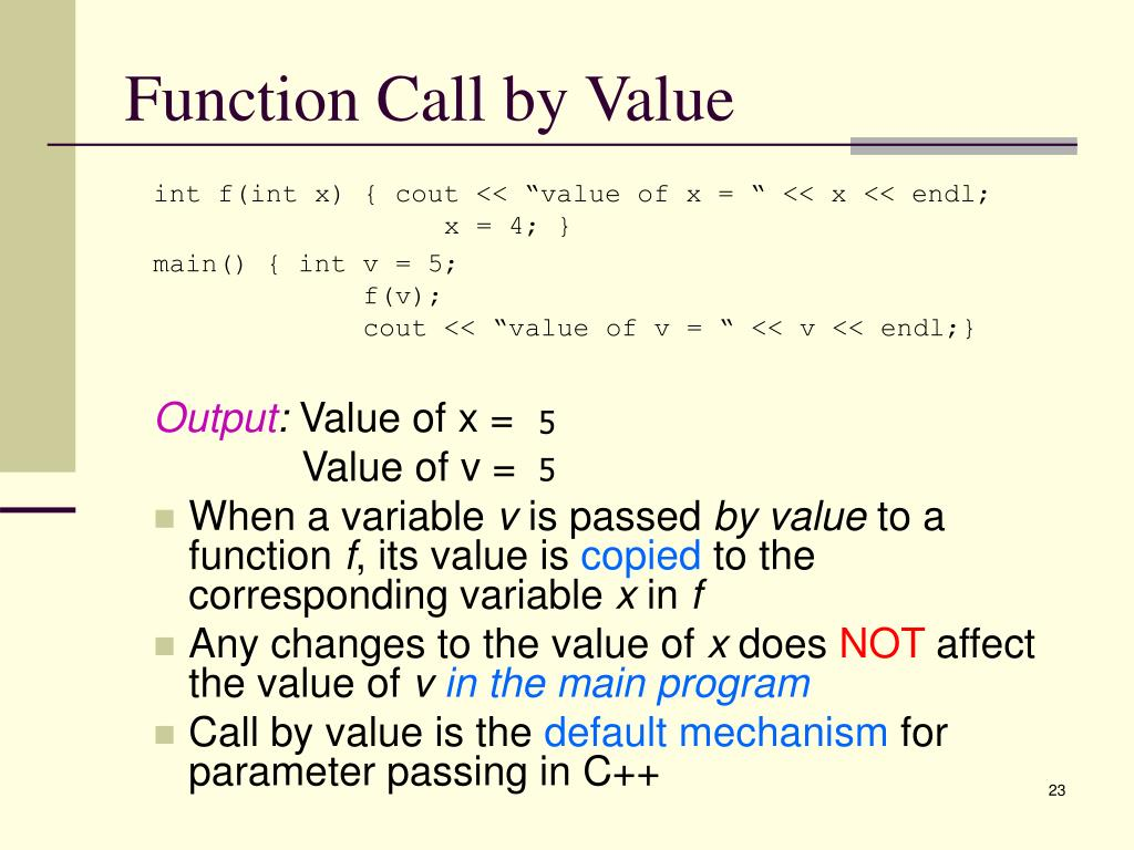 Function Call by Value