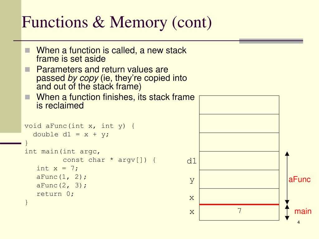 Functions & Memory (cont)