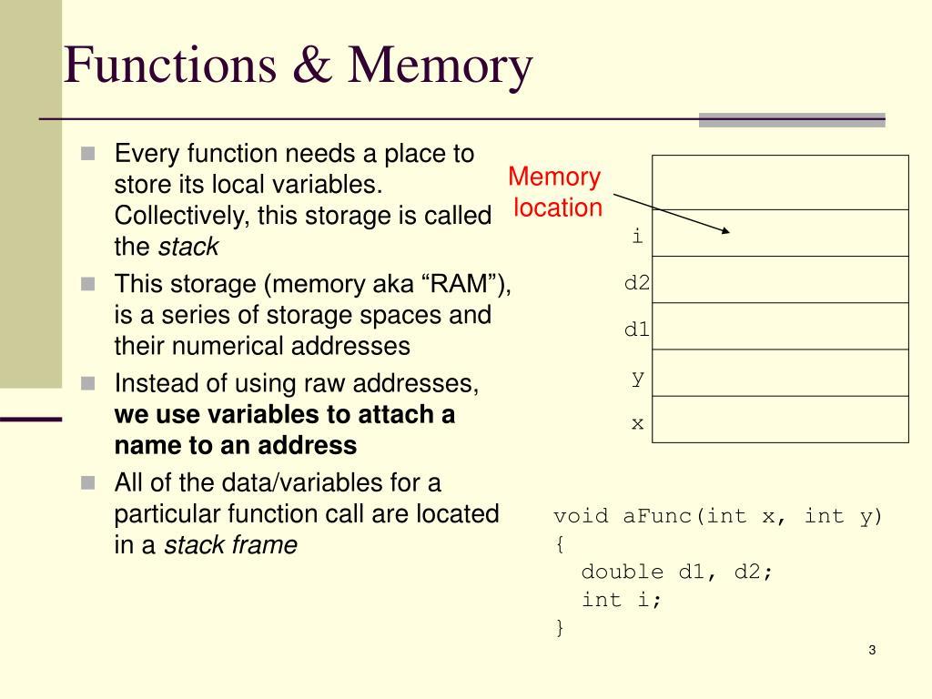 Functions & Memory