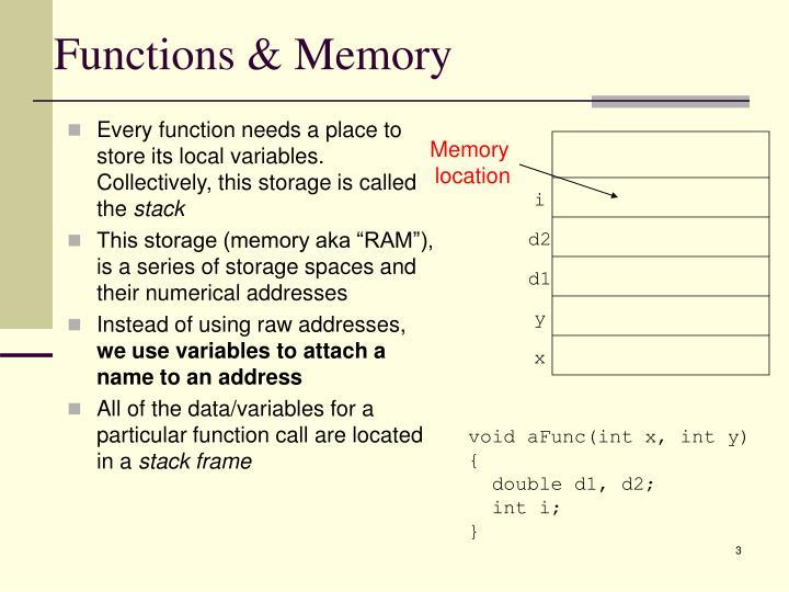 Functions memory