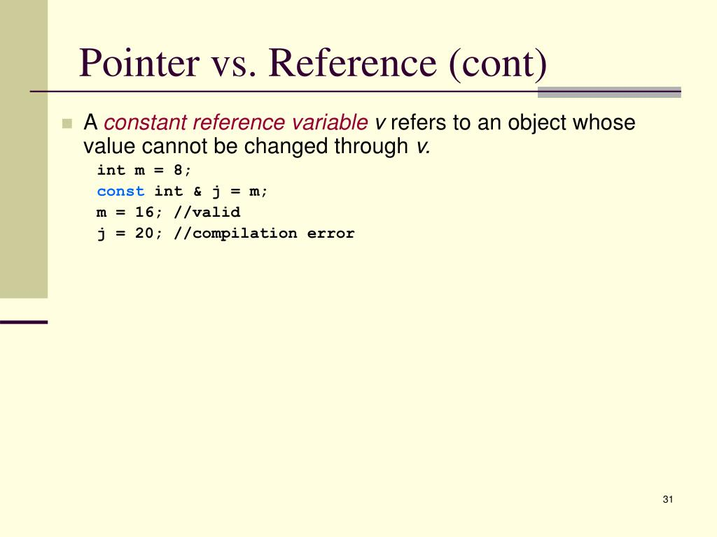 Pointer vs. Reference (cont)