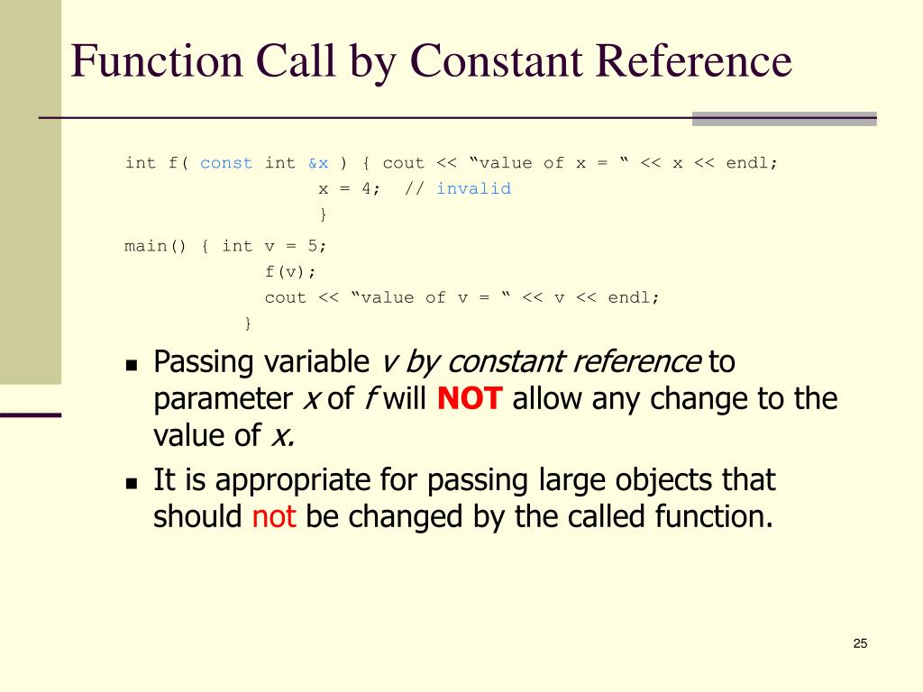 Function Call by Constant Reference