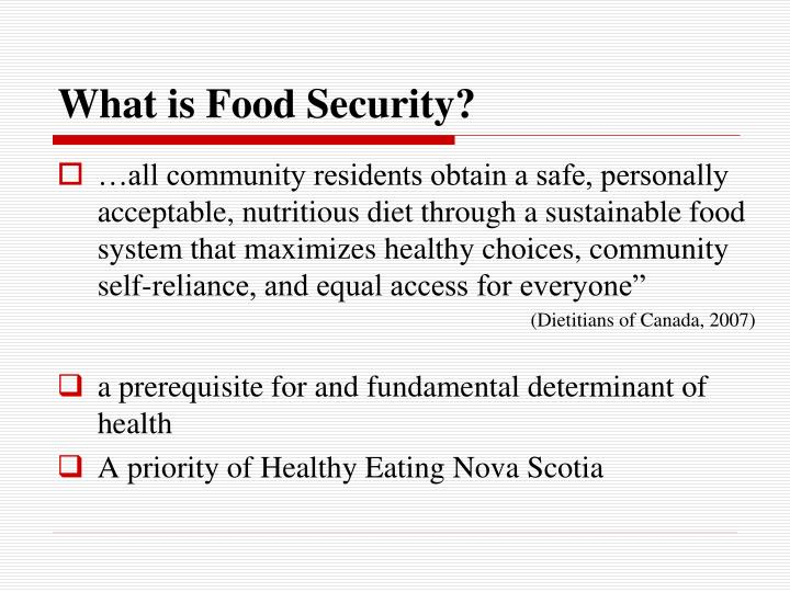 Dietitians Of Canada Food Security