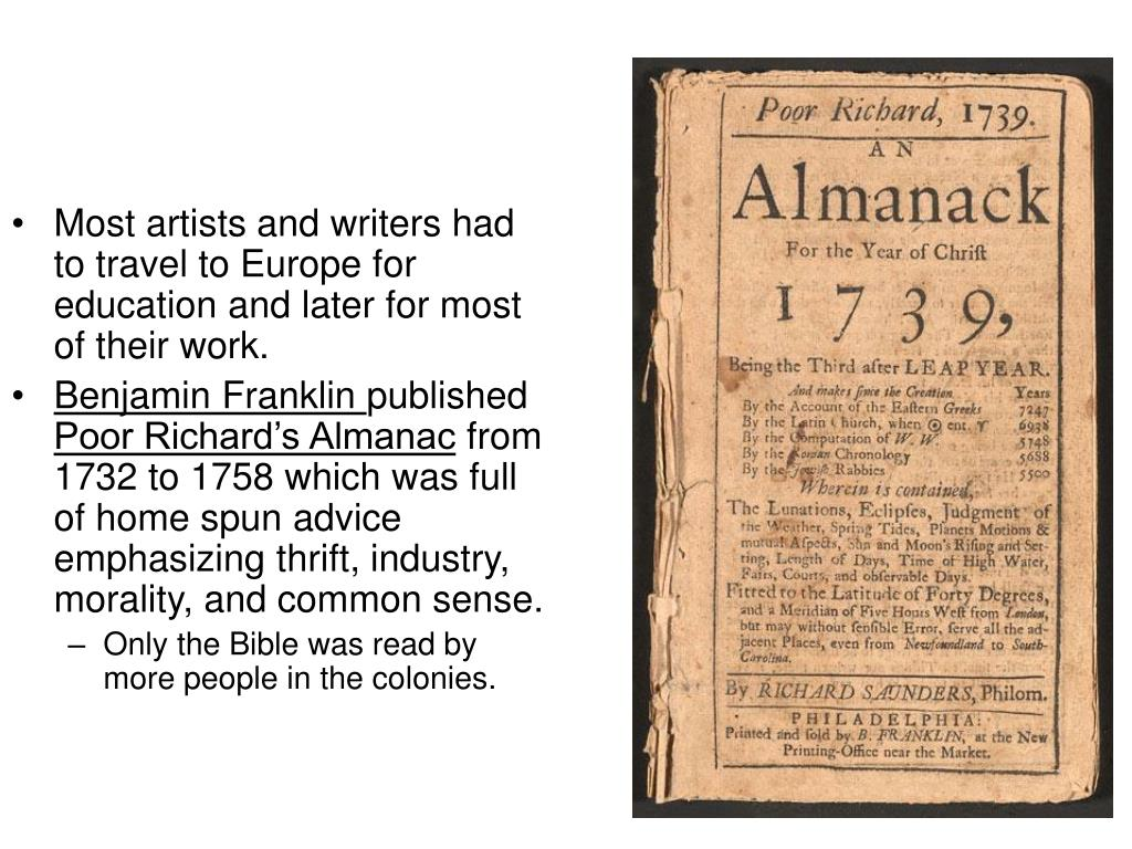 Most artists and writers had to travel to Europe for education and later for most of their work.
