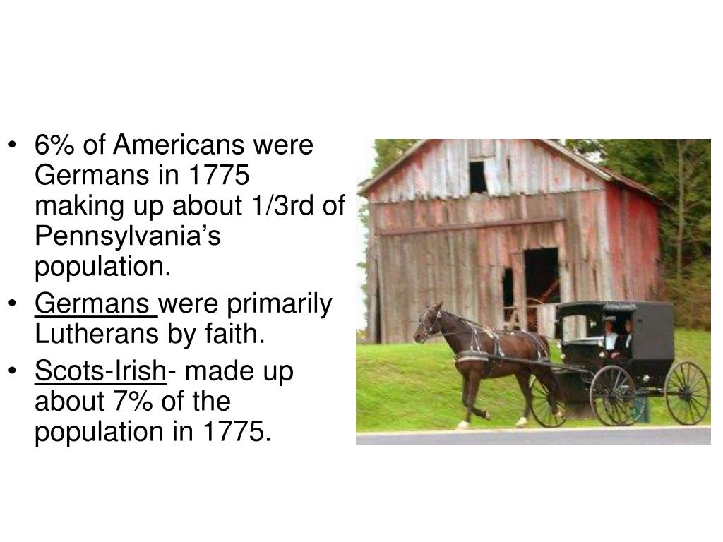 6% of Americans were Germans in 1775 making up about 1/3rd of Pennsylvania's population.