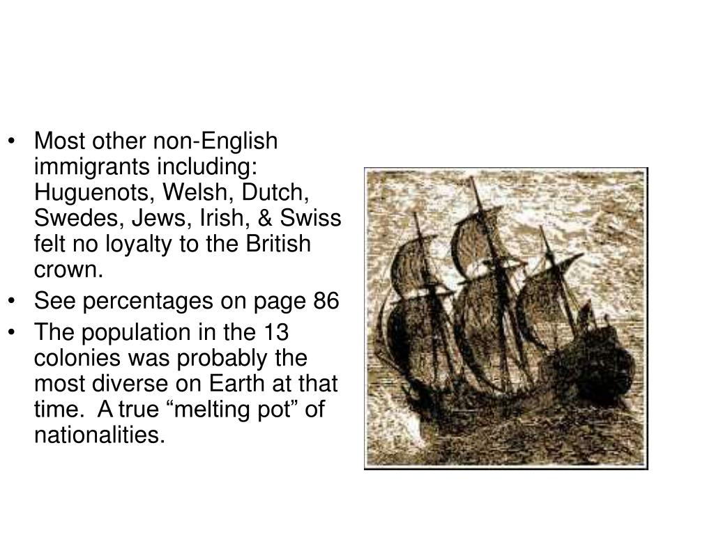 Most other non-English immigrants including: Huguenots, Welsh, Dutch, Swedes, Jews, Irish, & Swiss felt no loyalty to the British crown.