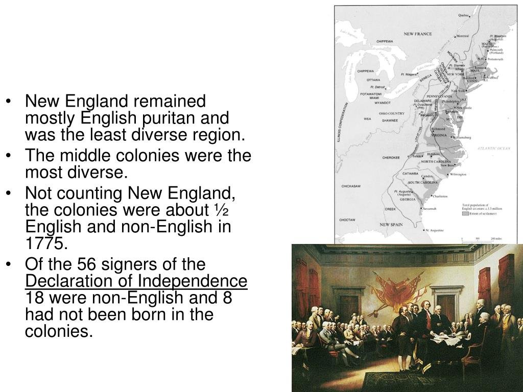 New England remained mostly English puritan and was the least diverse region.