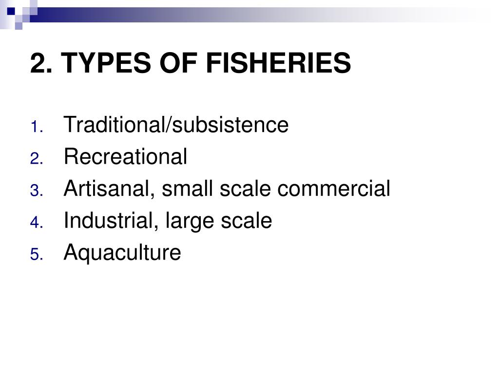 2. TYPES OF FISHERIES