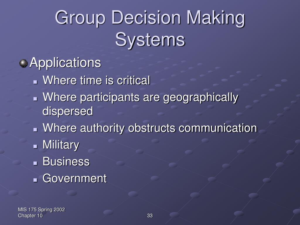 Group Decision Making Systems