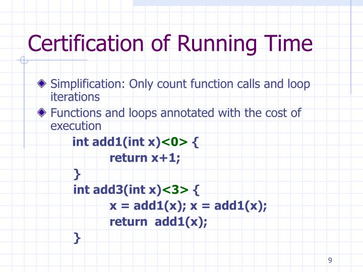 Certification of Running Time