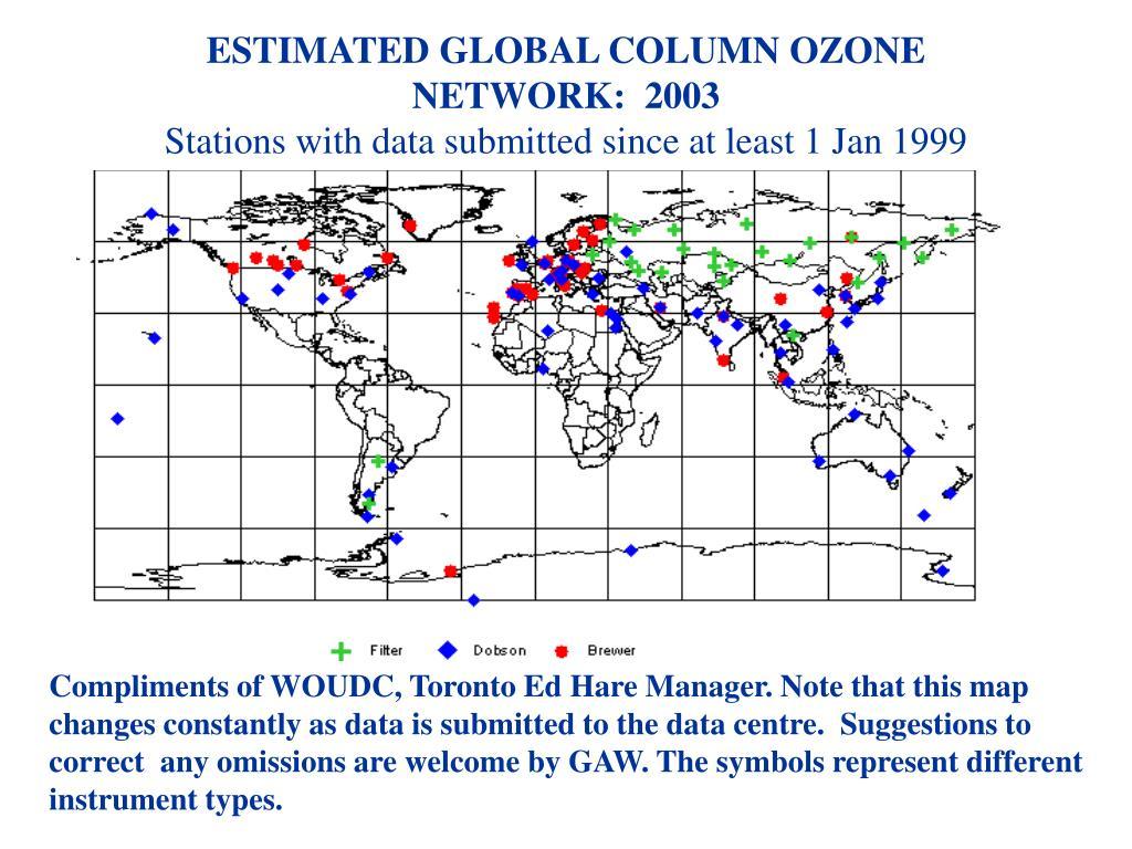 ESTIMATED GLOBAL COLUMN OZONE NETWORK:  2003