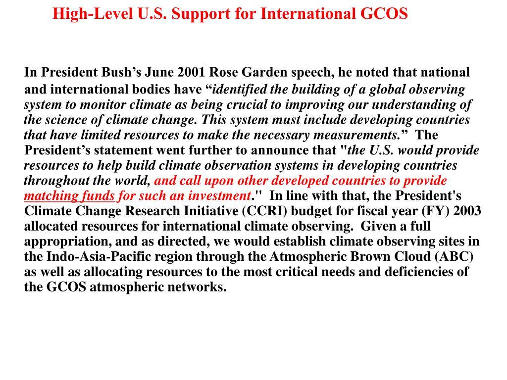 High-Level U.S. Support for International GCOS