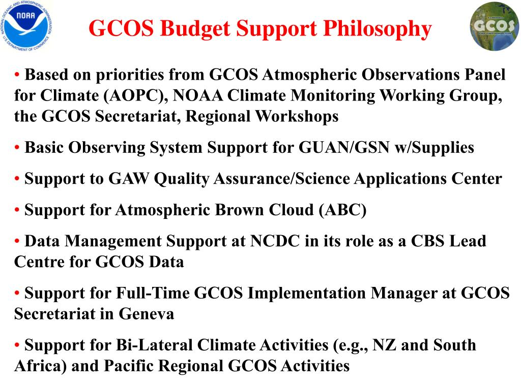 GCOS Budget Support Philosophy