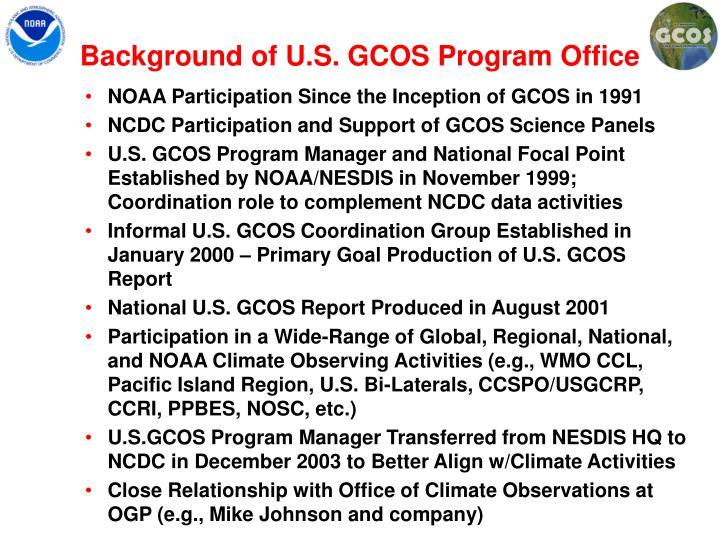 Background of U.S. GCOS Program Office