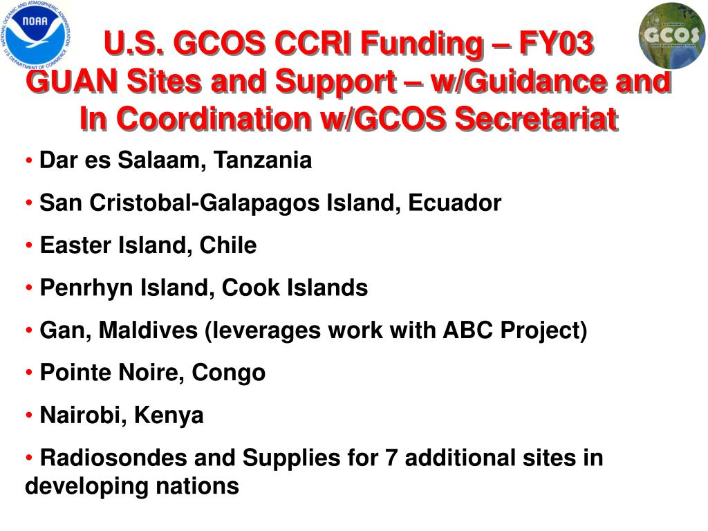 U.S. GCOS CCRI Funding – FY03