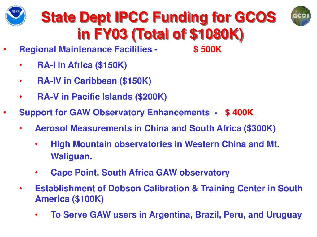 State Dept IPCC Funding for GCOS