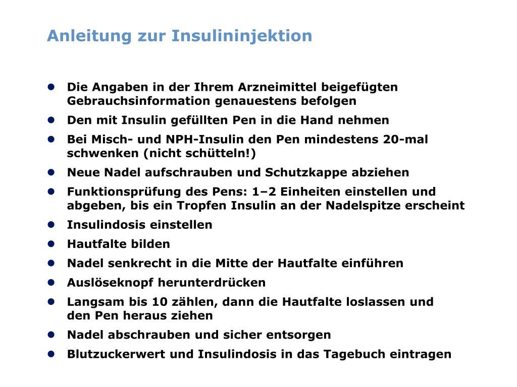 Anleitung zur Insulininjektion