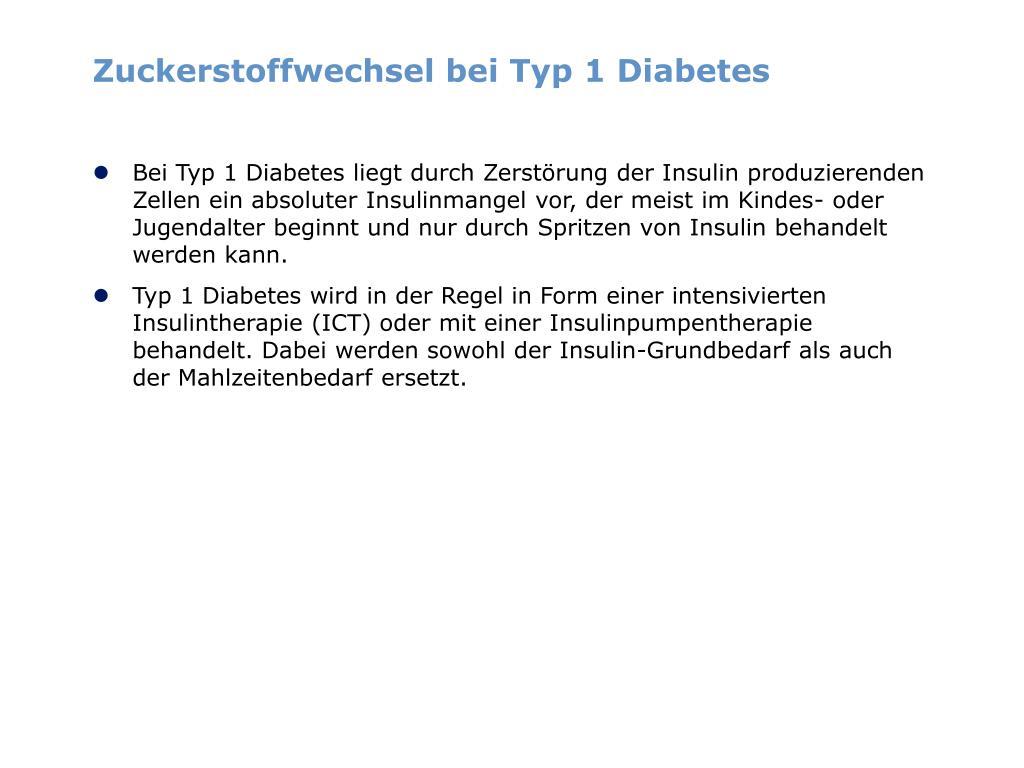 Zuckerstoffwechsel bei Typ 1 Diabetes