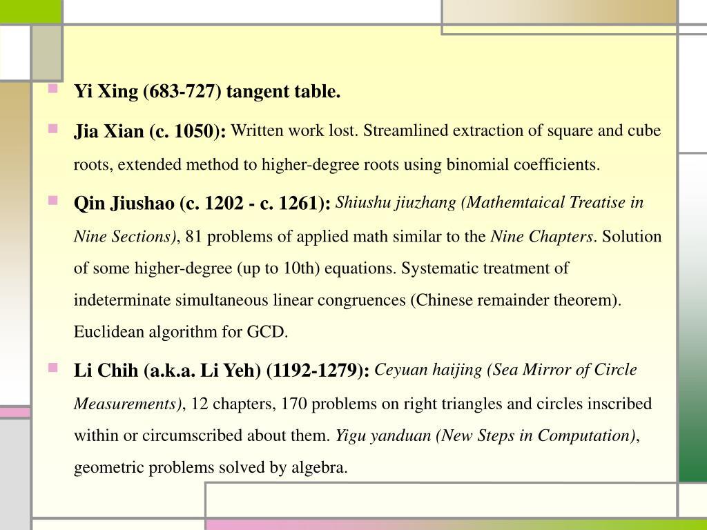 Yi Xing (683-727) tangent table.