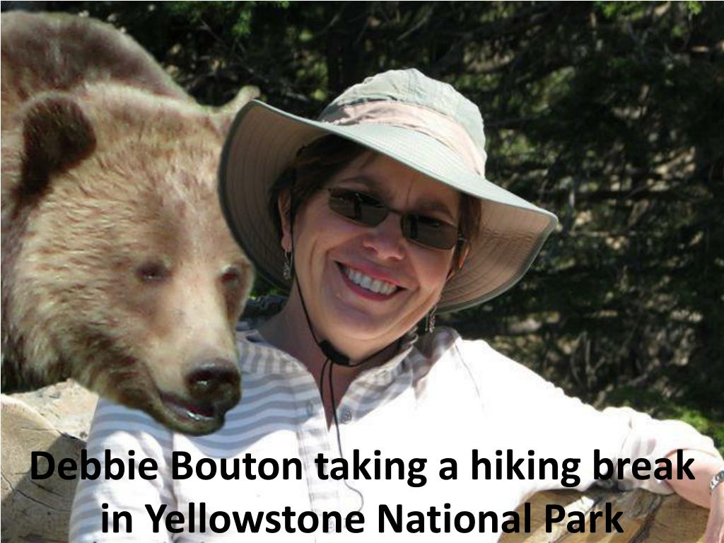 Debbie Bouton taking a hiking break in Yellowstone National Park