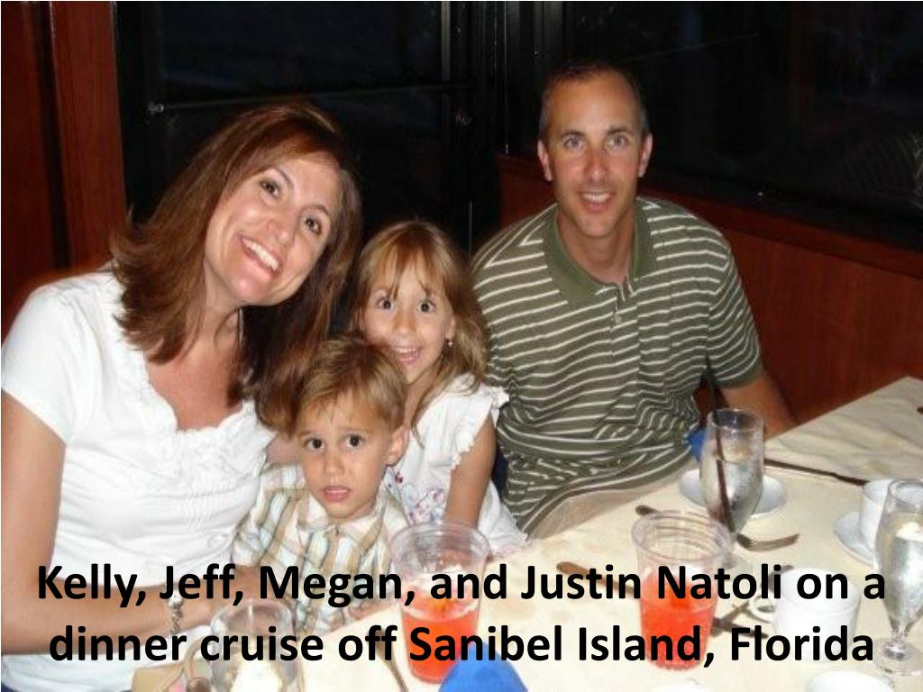 Kelly, Jeff, Megan, and Justin Natoli on a dinner cruise off Sanibel Island, Florida