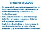 criticisms of globe